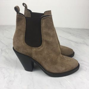 All Saints Light Brown Booties With Chunky Heels